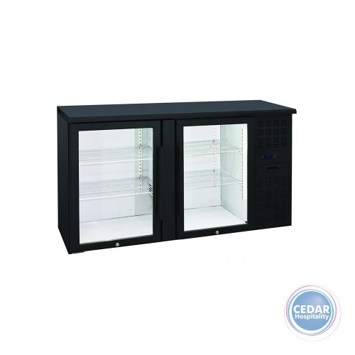 Anvil BBZ0200 Backbar Two Glass Door Underbar Fridge Black 315Lt - 1460 x 535 x 900mm