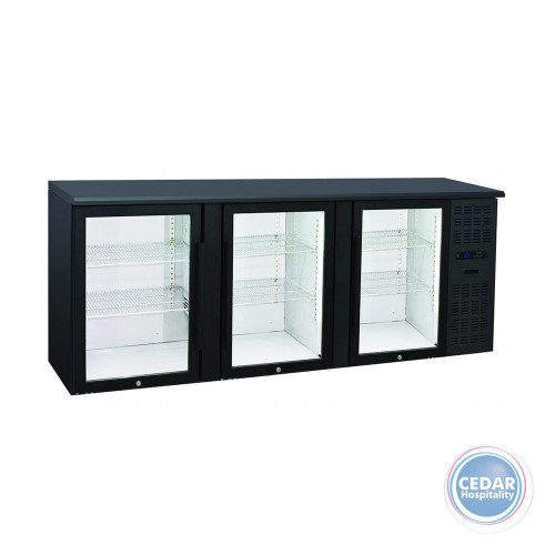 Anvil BBZ0300 Backbar Three Glass Door Underbar Fridge Black 500lt – 2085 x 535 x 900mm