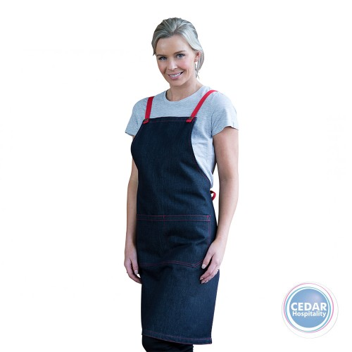 Aussie Chef Archie Dark Denim Bib Apron with Ties