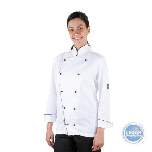 Executive Chef Jacket White with Black Piping