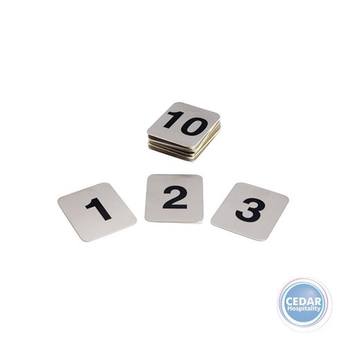 Flat Adhesive Table Numbers  50 x 40mm - Set of 1-10