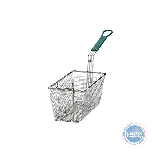 Fry-basket Rectangle Chrome with Plastic Green Coated Handle
