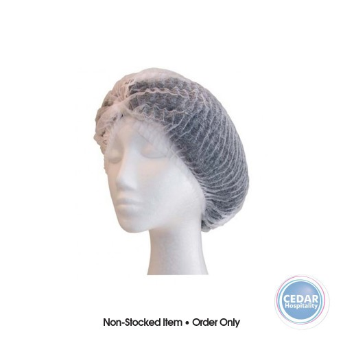 Food Safe Bouffant Caps Crimped White 21 Inch