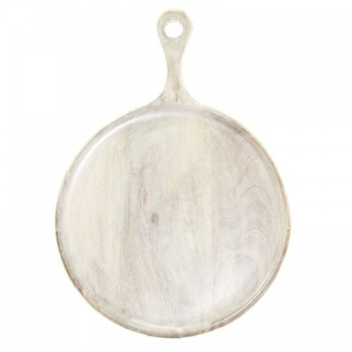 Mango Wood Board Round White with Handle