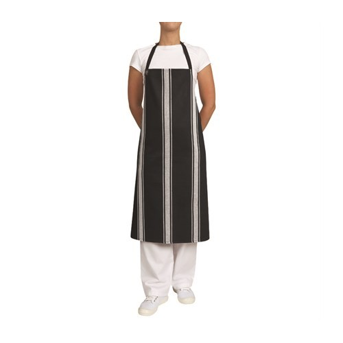 Apron Bib Butchers - Navy/White Vertical Stripes
