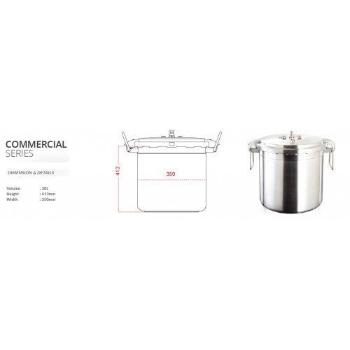 BUFFALO Commercial Series Pressure Cooker 30Lt