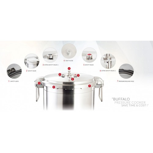BUFFALO Commercial Series Pressure Cooker 21Lt