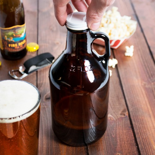 Amber Growler Bottle with Lid