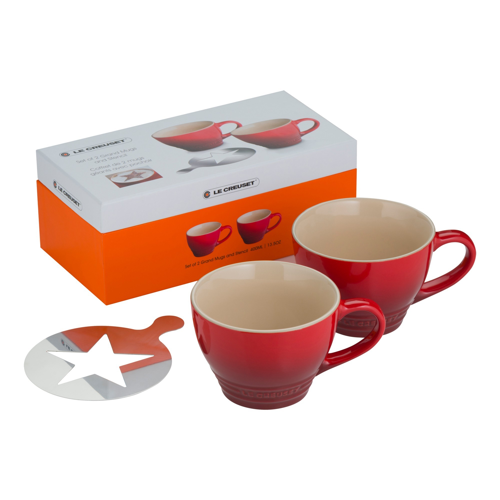 le creuset stoneware cappuccino cup set of  with stencil  cedar  - le creuset stoneware cappuccino cup set of  with stencil  cedarhospitality supplies