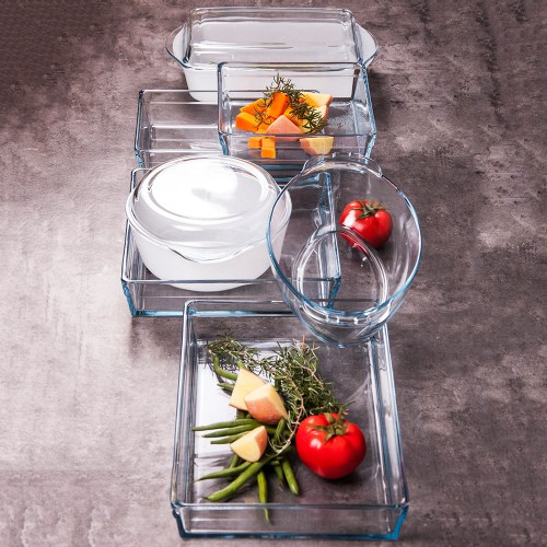 Guzzini Marble Glass Casserole w/Lid - Rectangle