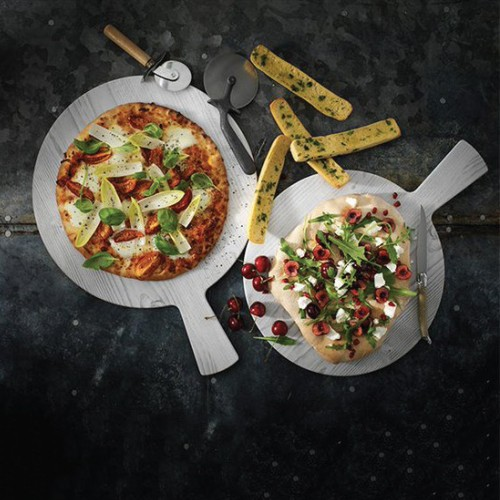 Melamine Whitewash Round Pizza Board with Handle