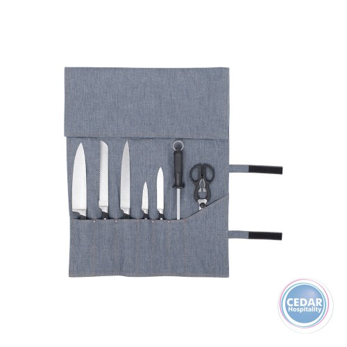 Street Chef Oliver Denim Knife Wrap - 7 Pocket