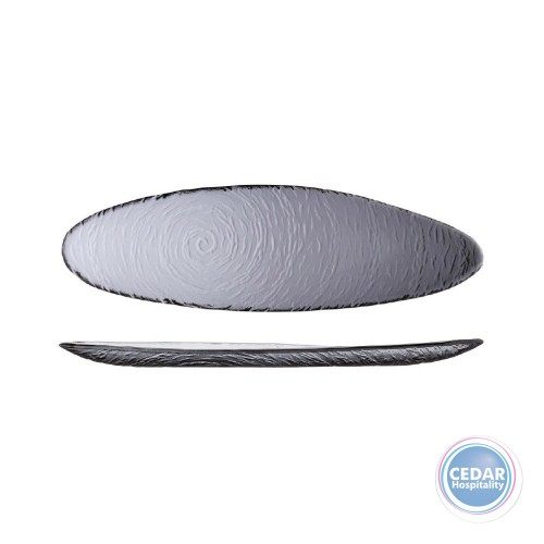 STEELITE - SCAPE SMOKED GLASS OVAL PLATTER - 40CM