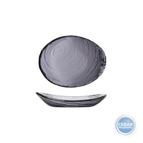 STEELITE - SCAPE SMOKED GLASS OVAL BOWL - 20CM