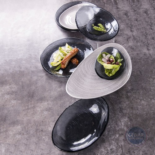 STEELITE - SCAPE SMOKED GLASS OVAL PLATTER - 30CM