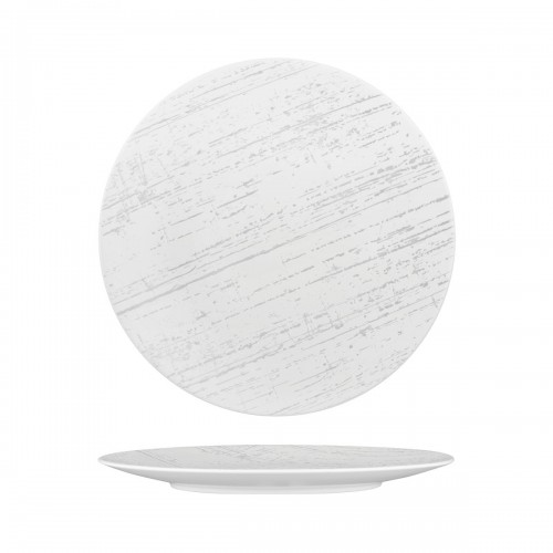 Luzerne Drizzle White With Grey Round Flat Coupe Plate