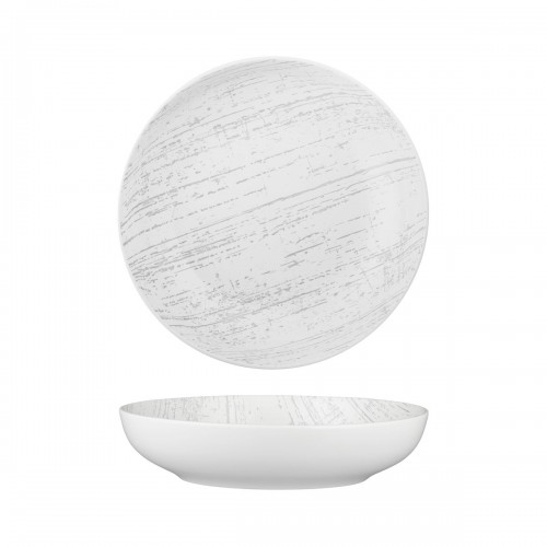 Luzerne Drizzle White With Grey Round Share Bowl