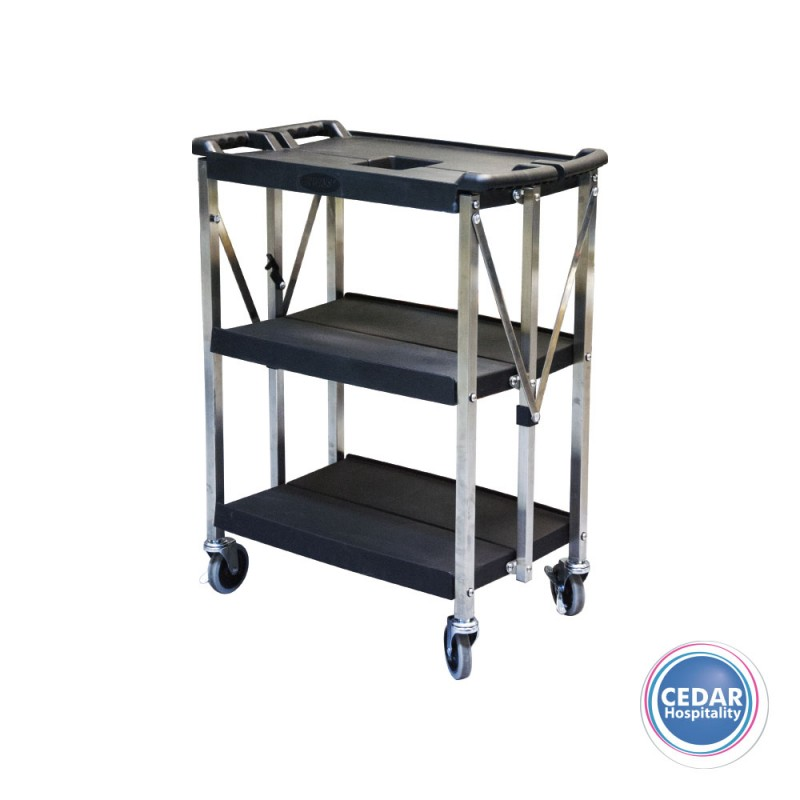 Trolley Cart 3 Tier Mobile Folding 2 Sizes Cedar