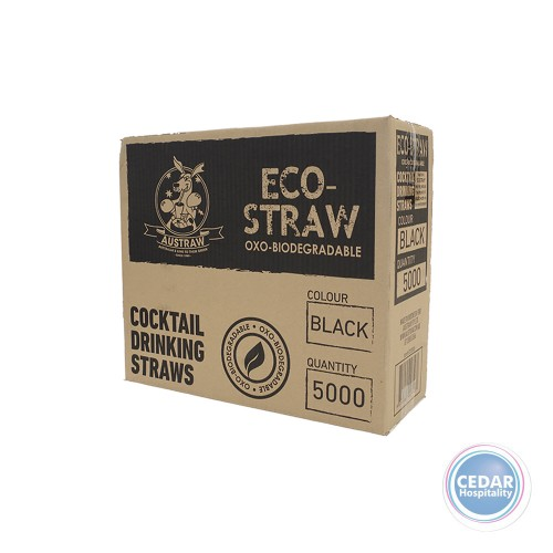 Eco Straw Oxo Bio-Degradable Cocktail Straw Black 5000/CTN - 140MM