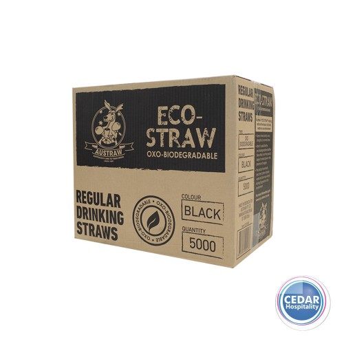 Eco Straws OXO Bio-Degradable  Black 5000/CTN - 210MM