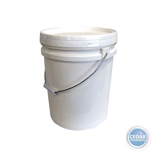White Plastic Bucket with Steel Handle & Lid - 20lt