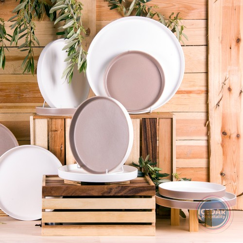 Ariane Selas Straight Plate - White Matt / Desertsage - 2 Sizes