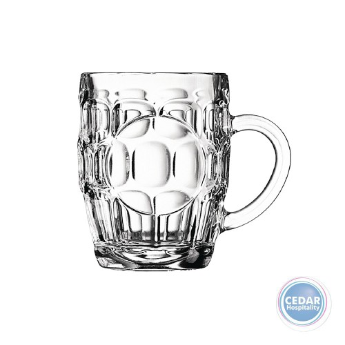 Arcoroc Dimple Britannia Beer Mug with Handle - 2 Sizes  - Box Qty Only - 36 P/Box
