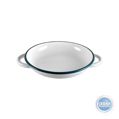 Urban Style Enamelware Ragout Plate with Handles 22cm x 3.8cm White