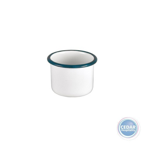 Urban Style Enamelware White Ramekin with Blue Rim - 2 Sizes