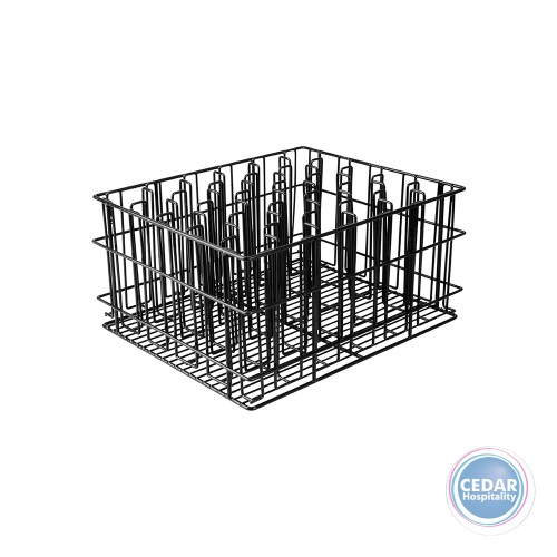Glass Basket Black Plastic Coated 12 Compartment  430x355x215mm