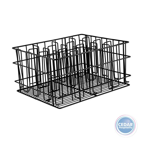 Glass Basket Black Plastic Coated 16 Compartment  430X355X215mm