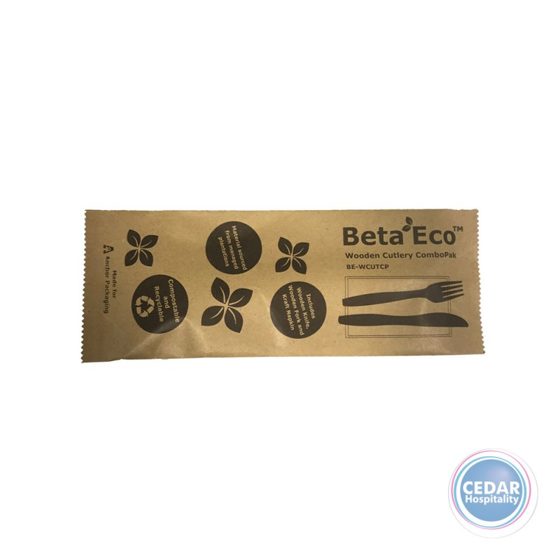 BetaEco™ Wooden Cutlery Combo Pack - Bag/100