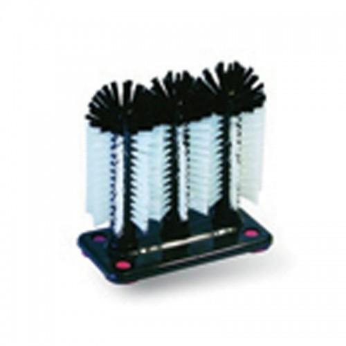 Glass Washer - Triple Thin Brushes with Suction Cups
