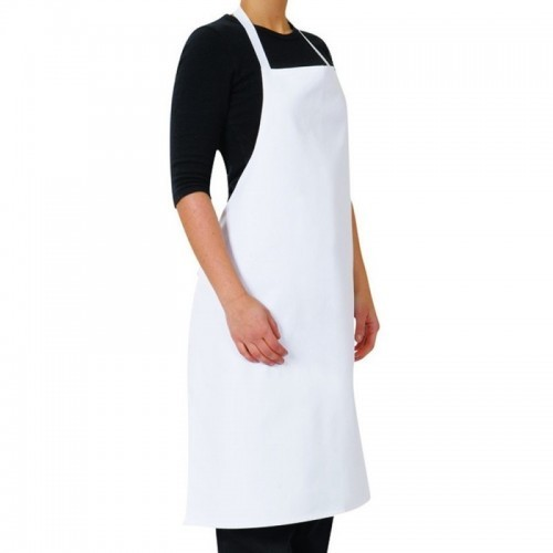 Bib Apron White Heavy Duty with Pocket