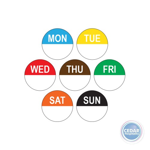 Day Labels Round Superremovable 24mm RL/1000 - 7 Days