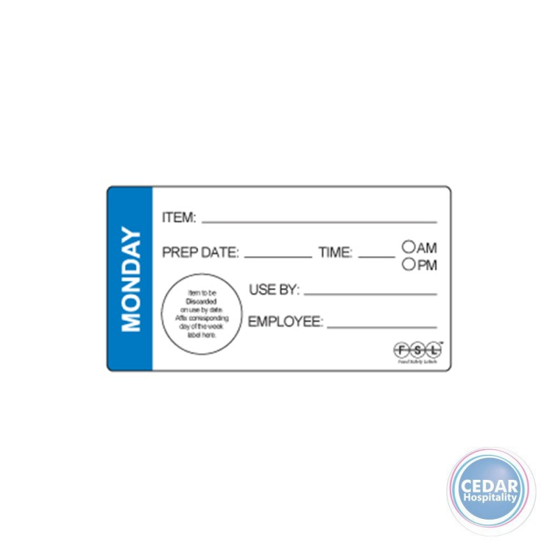 Shelf Life Label 102 x 47mm Removable RL/500 - 7 Days
