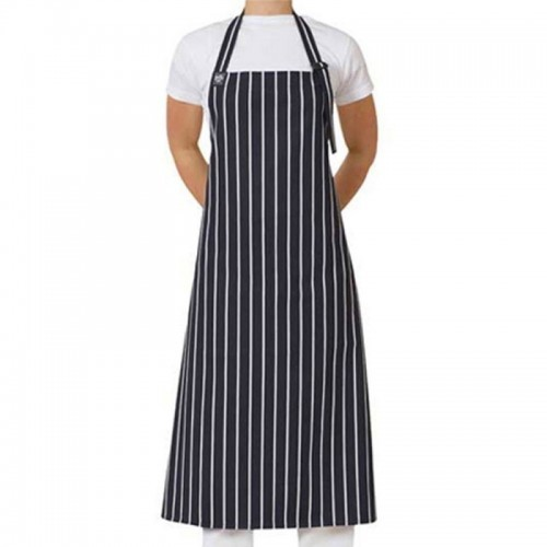 Apron Bib Deluxe - Black/White Stripe With Buckle