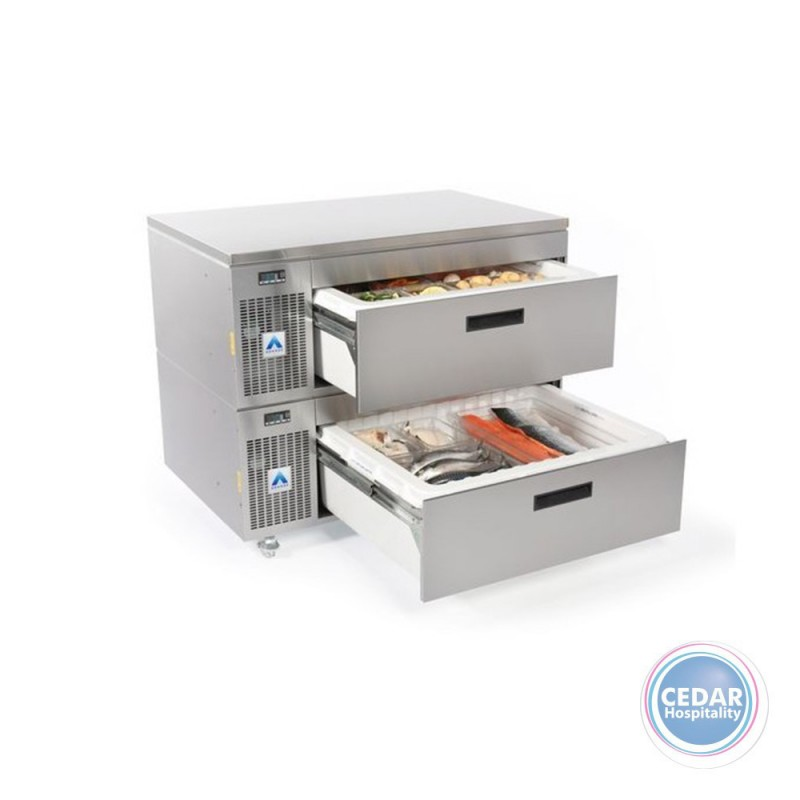 Adande Double Drawer - Side Engine Refrigeration Unit with Castors and Solid Work Top