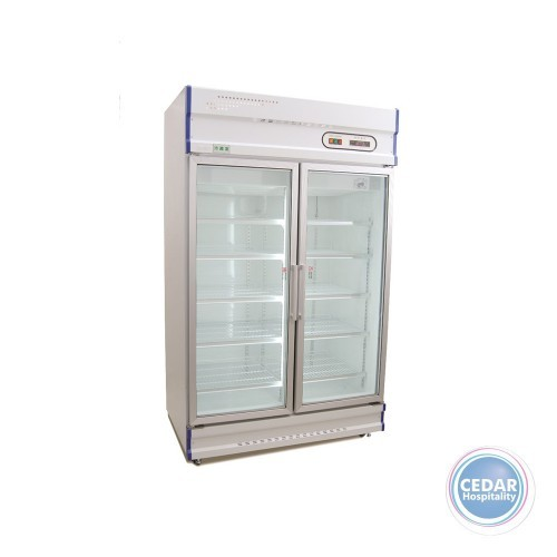 Anvil Double Glass Door Upright Display Fridge – 1000Lt