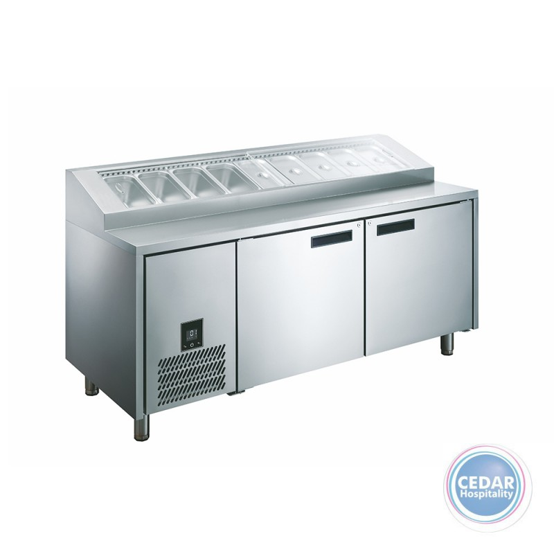 Glacian Pizza Prep Fridge – 760mm Deep 2 Door S/S