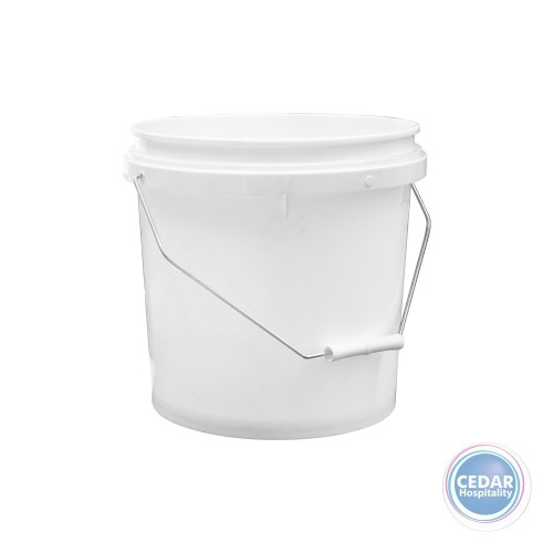White Plastic Bucket with Steel Handle 10Lt