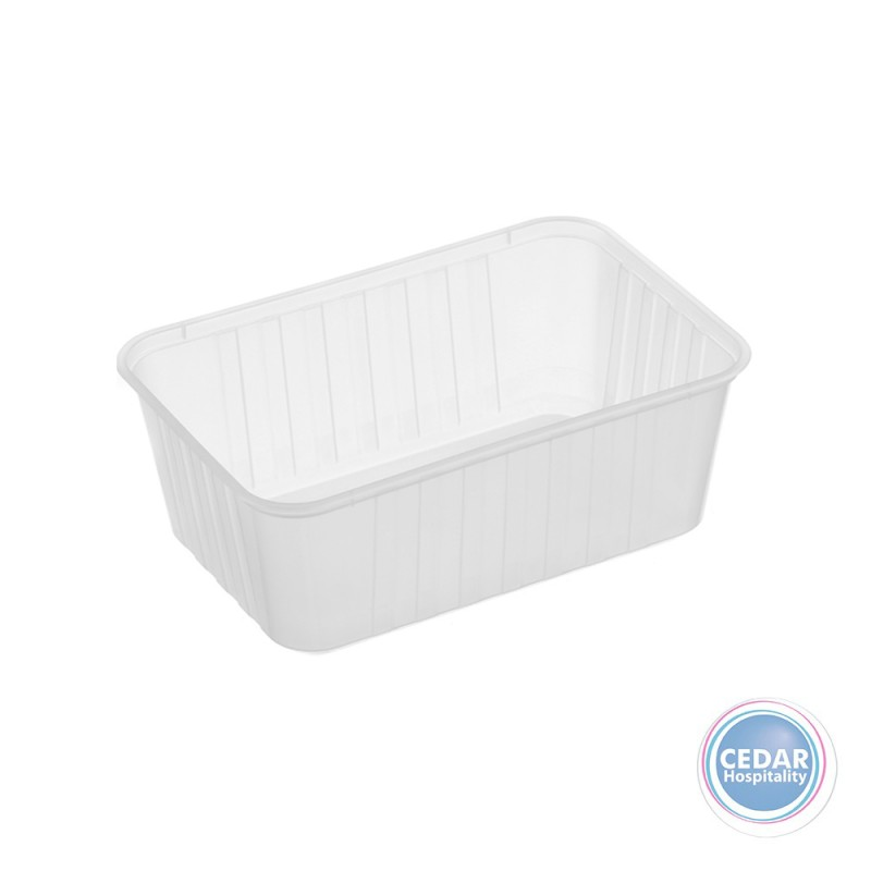 Genfac Ribbed Plastic Rect Container 1000ml - BX/500