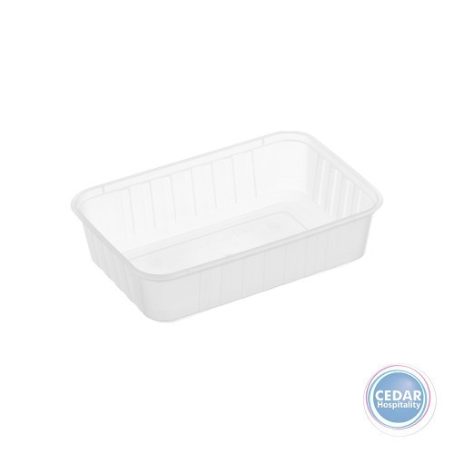 Genfac Ribbed Plastic Rect Container 750ml - BX/500