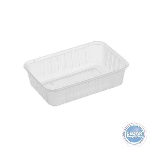 Genfac Ribbed Plastic Rect Container 680ml - BX/500