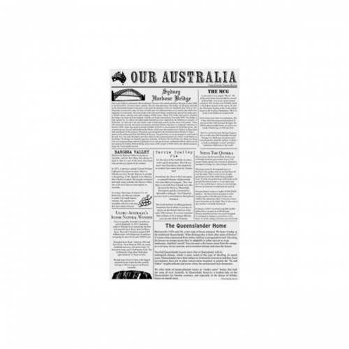GREASEPROOF PAPER (NEWSPAPER STYLE- OUR AUSTRALIA) 19 x 31CM