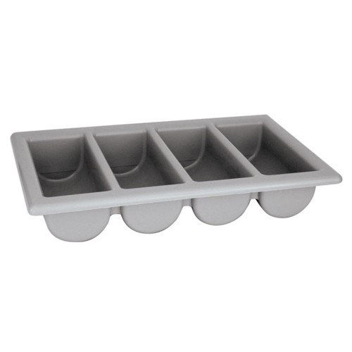 PLASTIC CUTLERY BOX 4 COMPARTMENT (GREY)