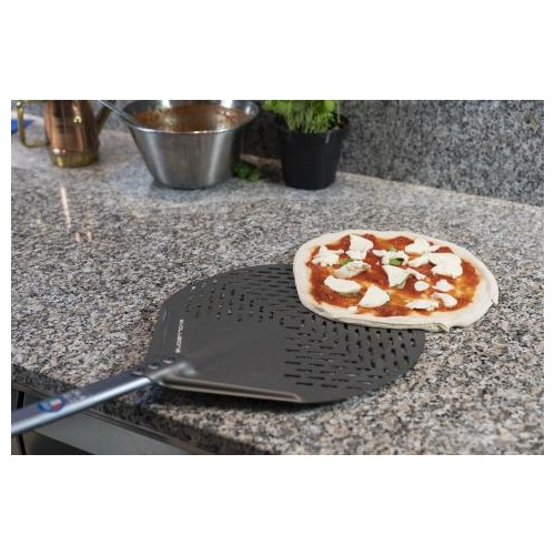 Gi Metal Evoluzione Aluminium Round Pizza Peel Perf 150cm Handle - 2 Sizes