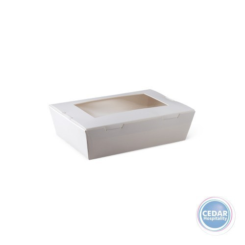Lunch Box White With Window Small - 150 X 100 X 45mm