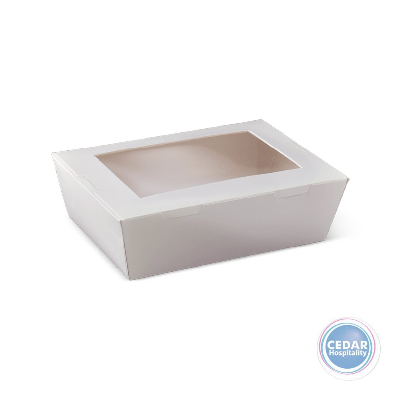 Lunch Box White With Window Large - 195 x 140 x 65mm