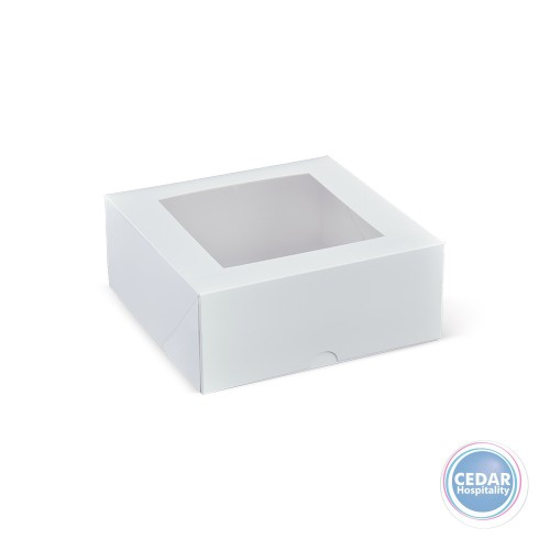 Patisserie Box White Square With Window - 180 x 180 x 75mm